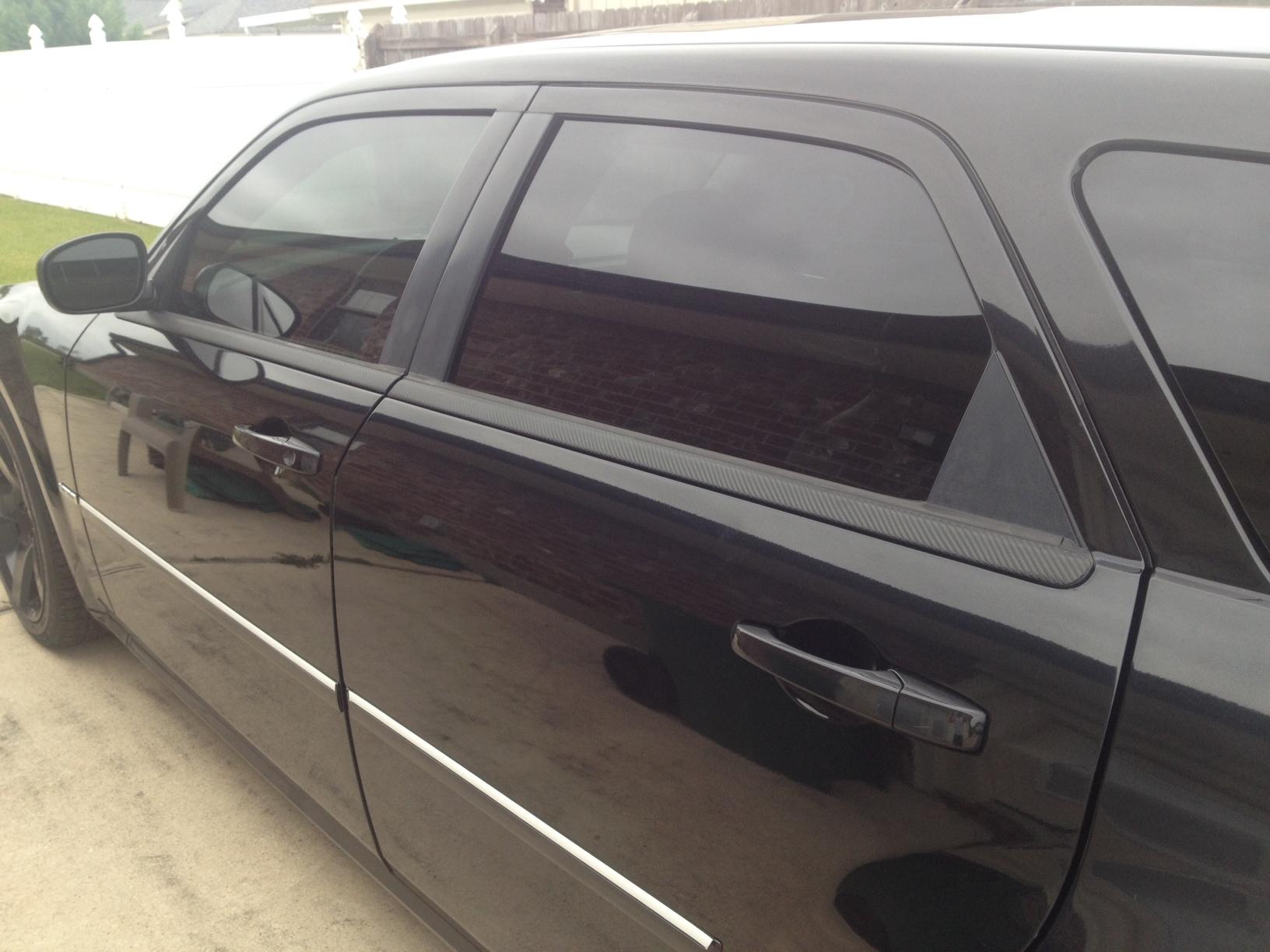 Carbon Fiber Wrap On Faded Window Trim Install Progress